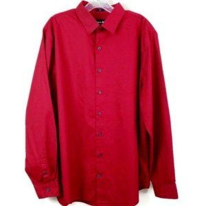 Express 1MX Slim Button Up Solid Dress Work Shirt